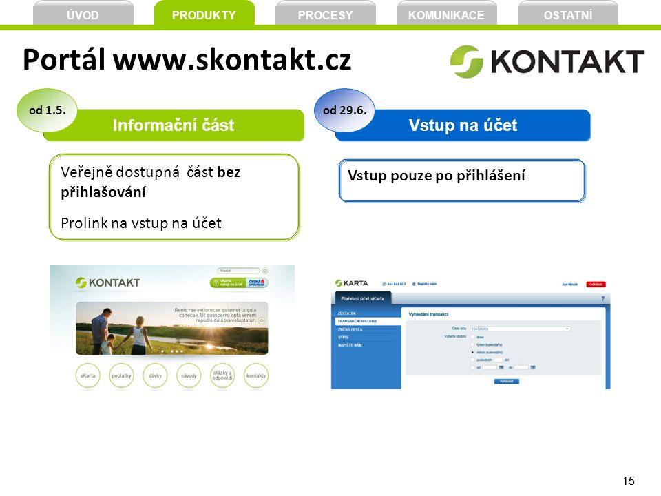 Portál www.skontakt.cz Informační část Vstup na účet