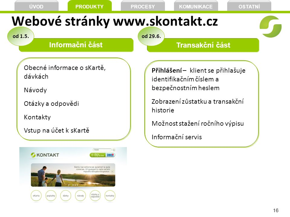 Webové stránky www.skontakt.cz