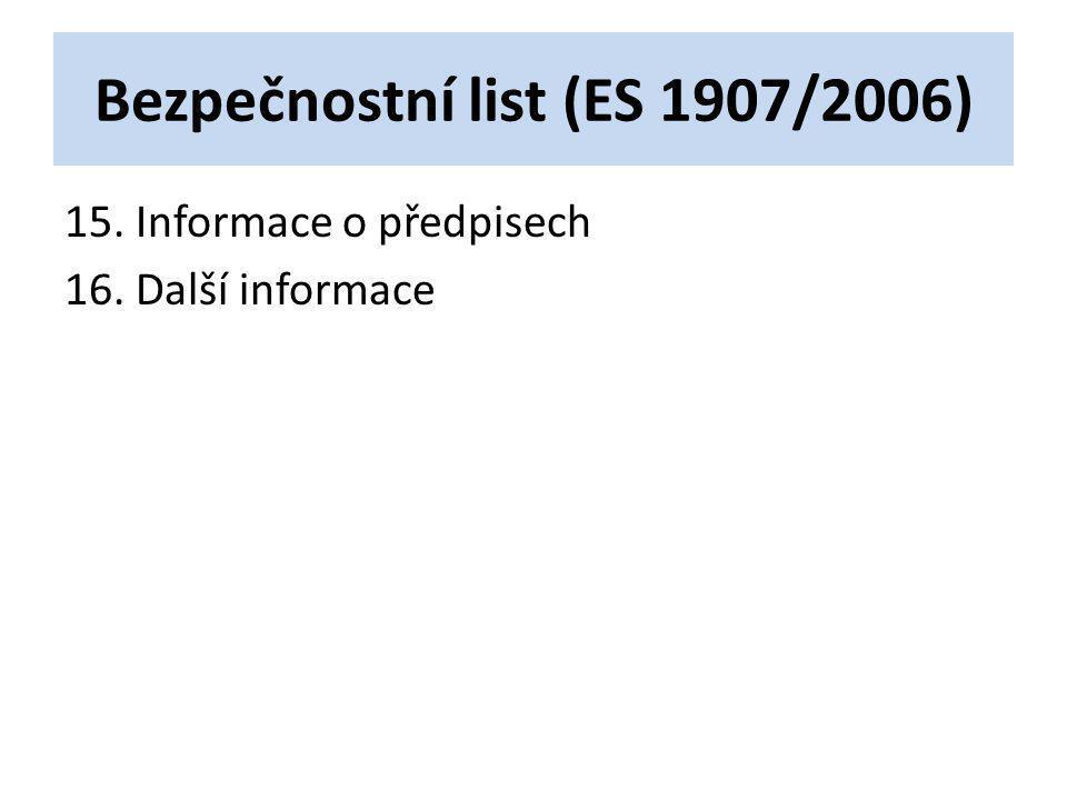 Bezpečnostní list (ES 1907/2006)