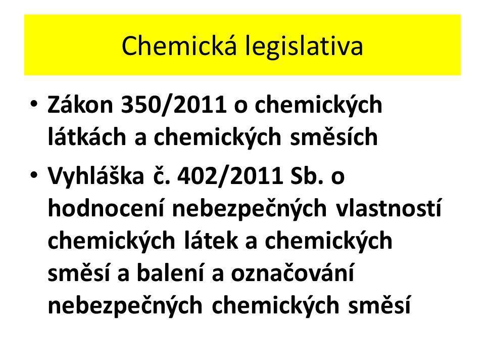 Chemická legislativa Zákon 350/2011 o chemických látkách a chemických směsích.