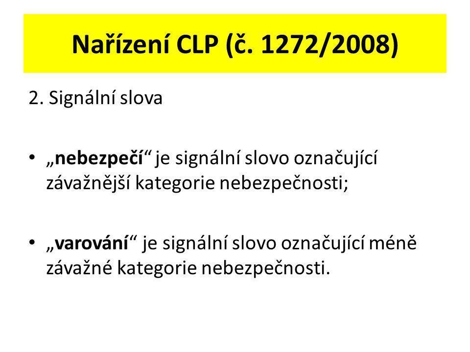 Nařízení CLP (č. 1272/2008) 2. Signální slova