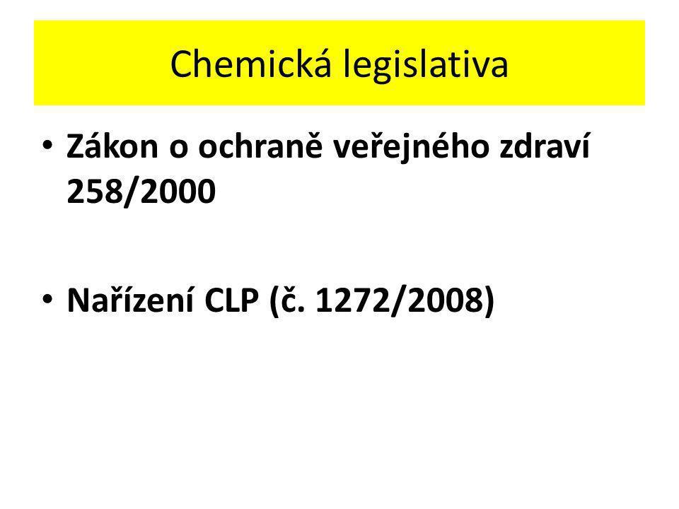 Chemická legislativa Zákon o ochraně veřejného zdraví 258/2000