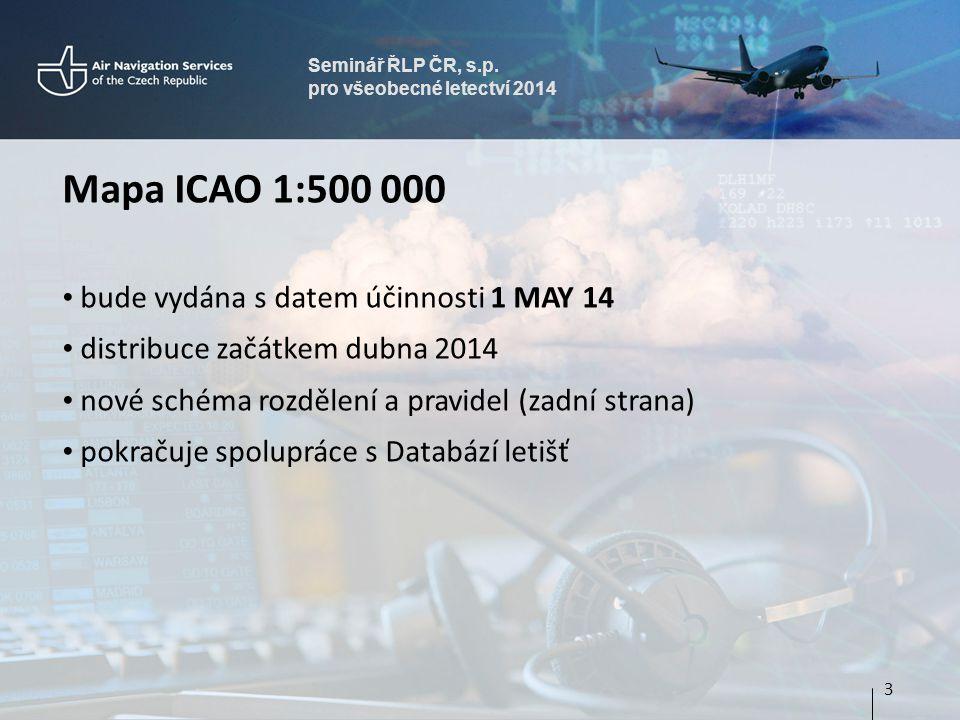 Mapa ICAO 1:500 000 bude vydána s datem účinnosti 1 MAY 14
