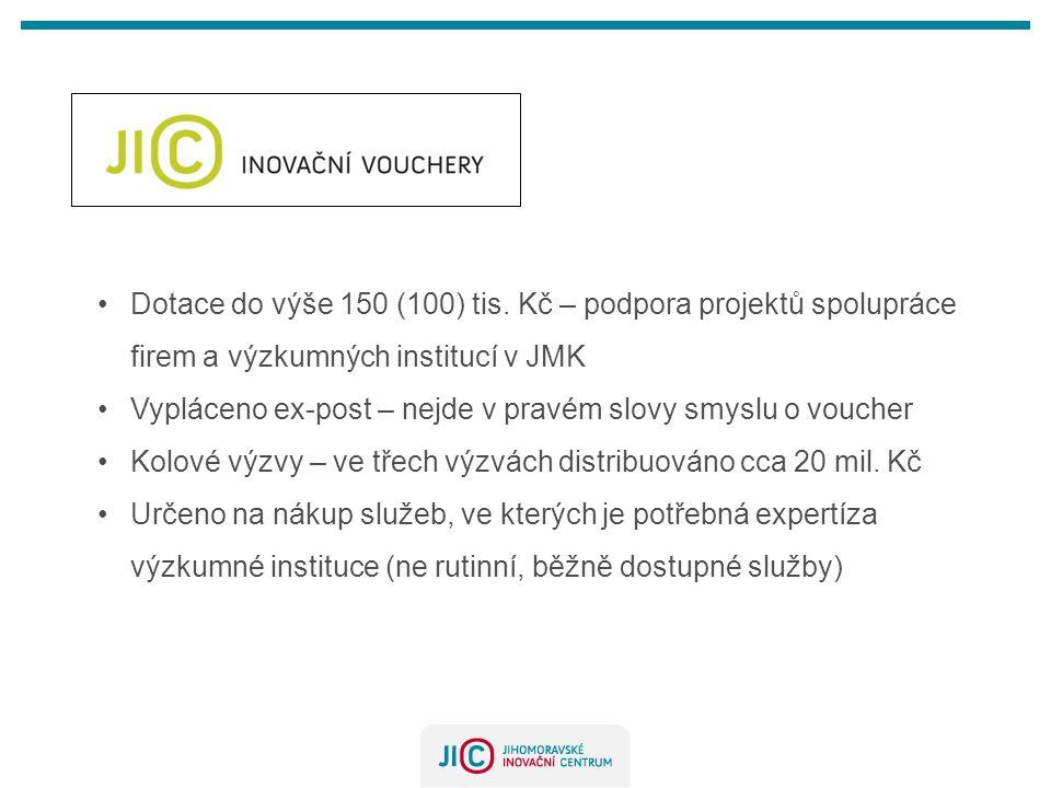 Dotace do výše 150 (100) tis. Kč – podpora projektů spolupráce firem a výzkumných institucí v JMK