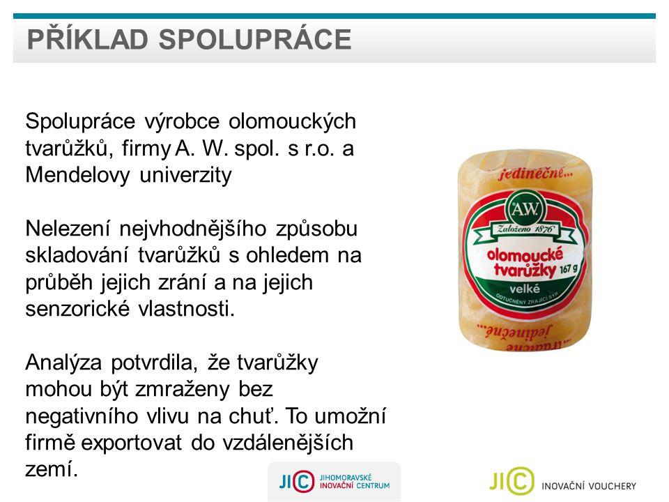 Příklad spolupráce Spolupráce výrobce olomouckých tvarůžků, firmy A. W. spol. s r.o. a Mendelovy univerzity.