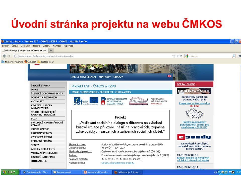 Úvodní stránka projektu na webu ČMKOS