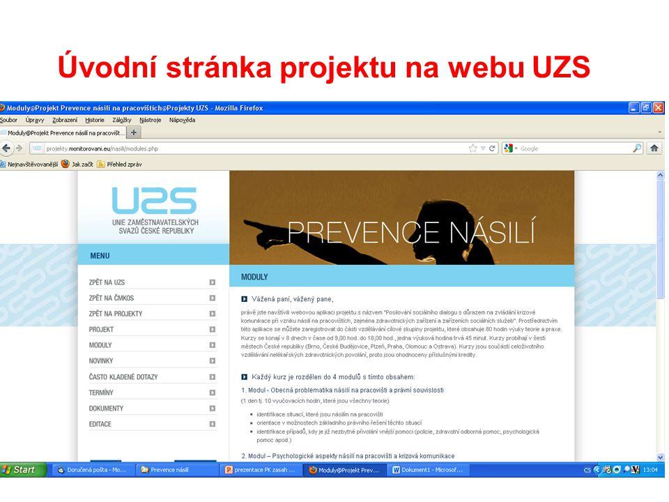 Úvodní stránka projektu na webu UZS