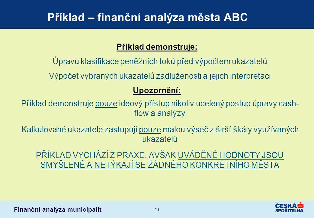 Příklad – finanční analýza města ABC
