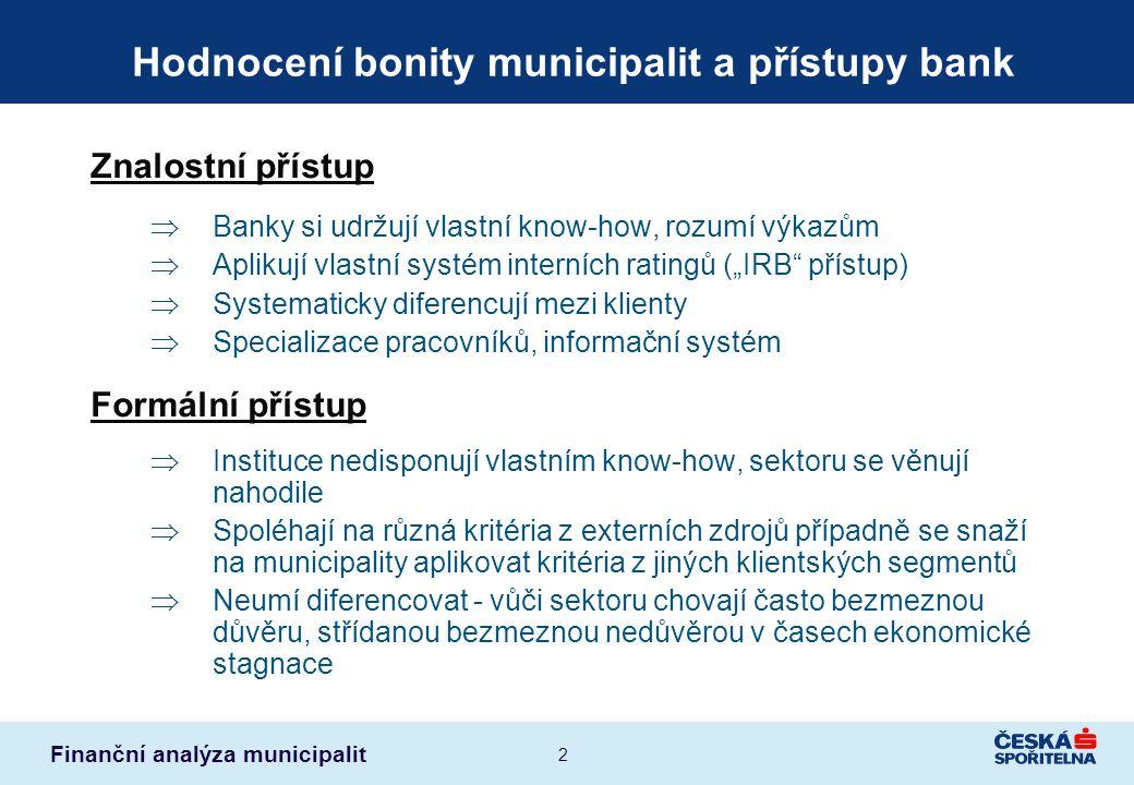 Hodnocení bonity municipalit a přístupy bank