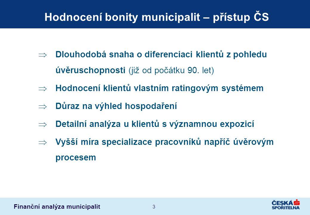 Hodnocení bonity municipalit – přístup ČS