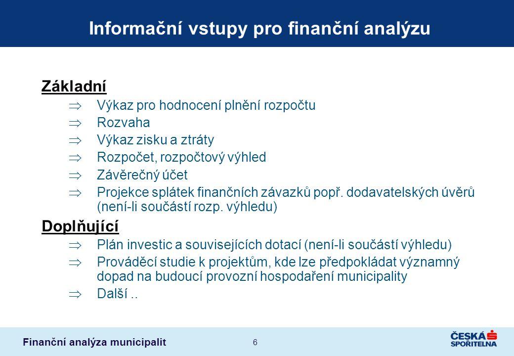 Informační vstupy pro finanční analýzu