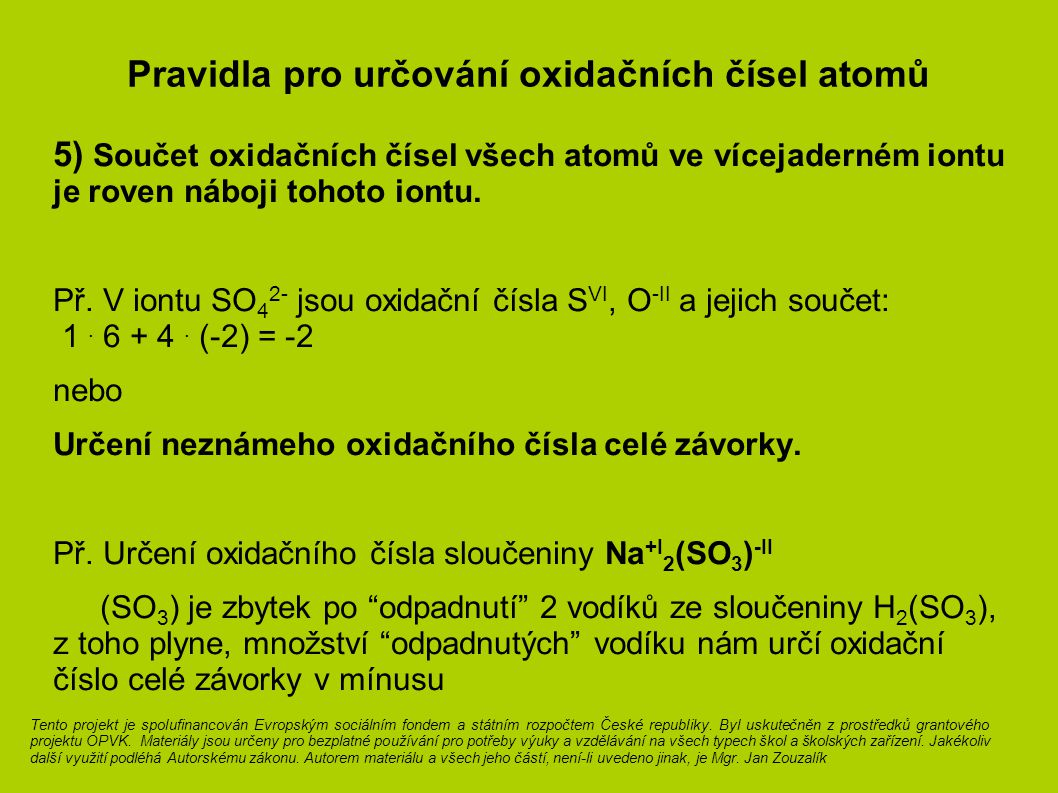 Pravidla pro určování oxidačních čísel atomů