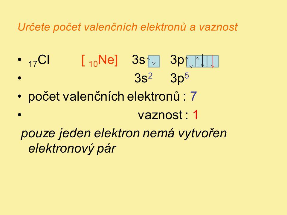 Určete počet valenčních elektronů a vaznost