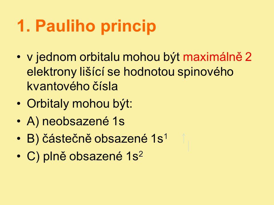 1. Pauliho princip v jednom orbitalu mohou být maximálně 2 elektrony lišící se hodnotou spinového kvantového čísla.