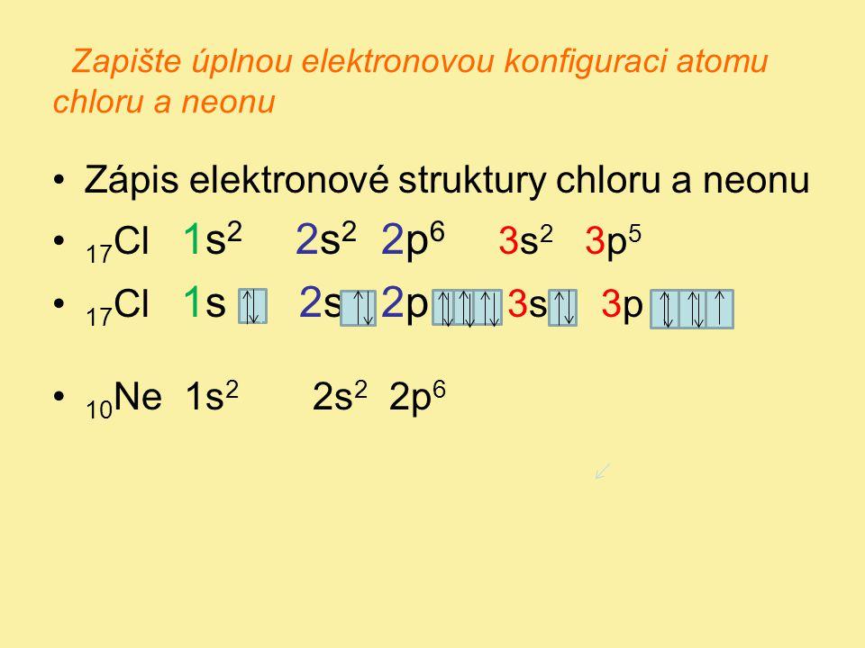 Zapište úplnou elektronovou konfiguraci atomu chloru a neonu