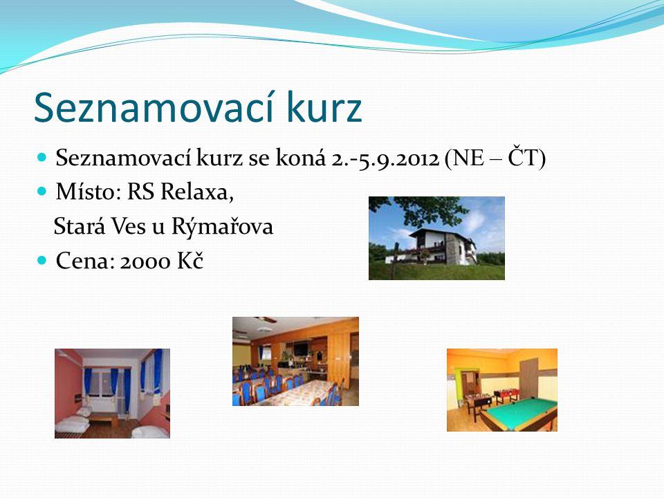 Seznamovací kurz Seznamovací kurz se koná 2.-5.9.2012 (NE – ČT)
