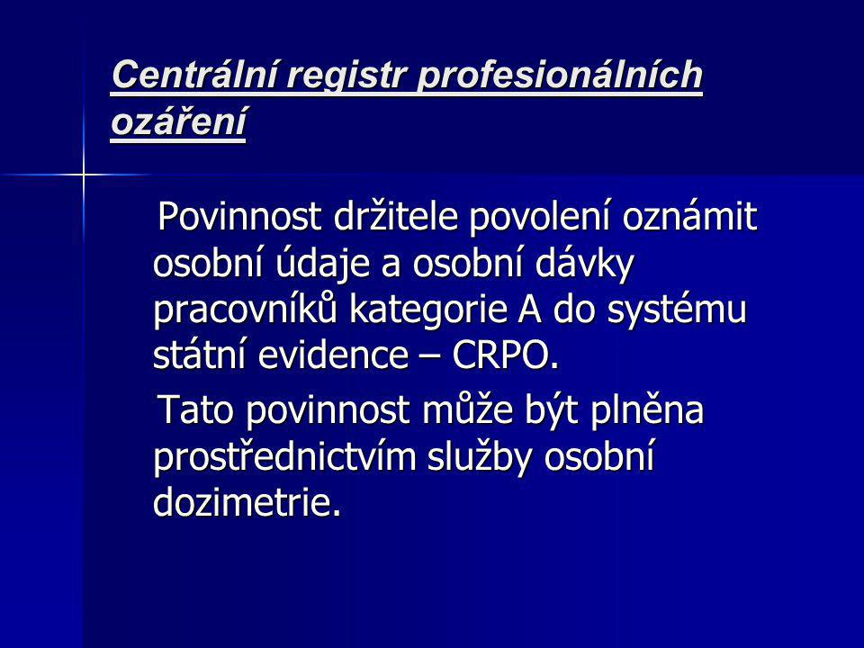 Centrální registr profesionálních ozáření