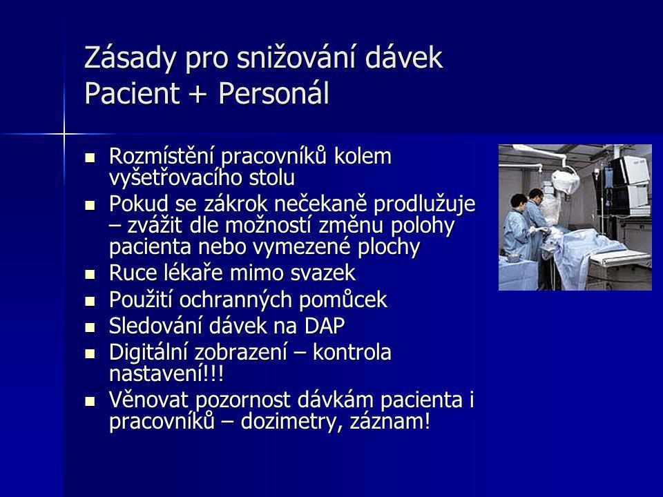 Zásady pro snižování dávek Pacient + Personál