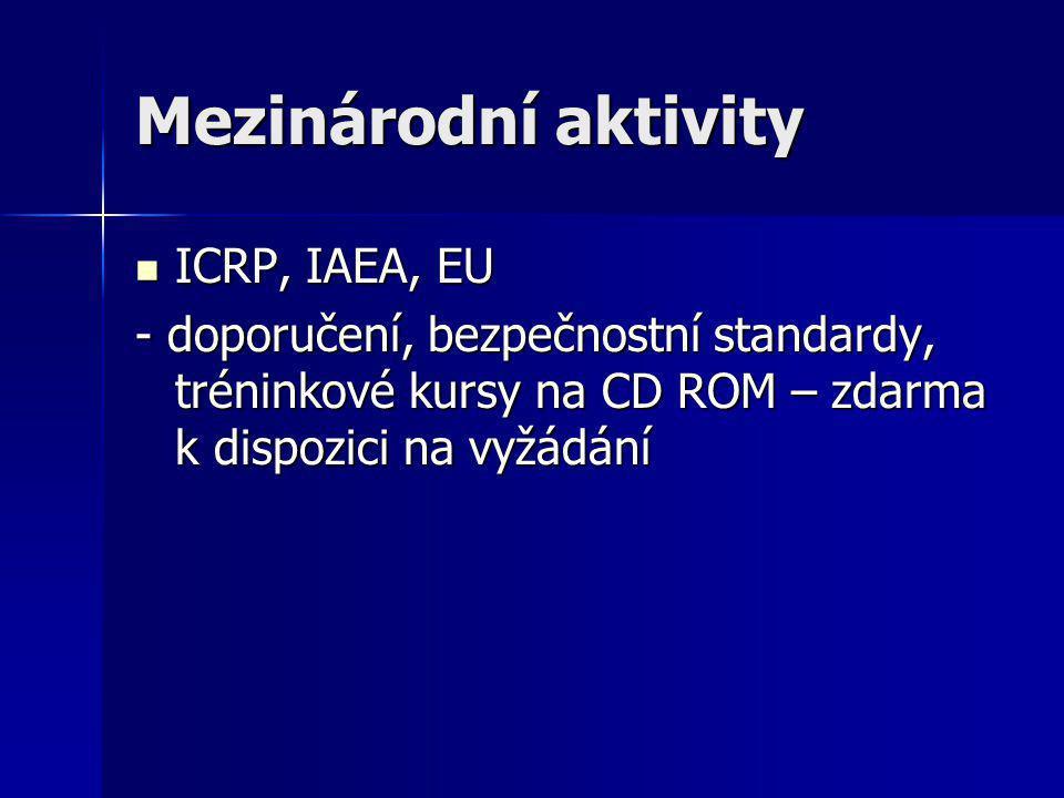 Mezinárodní aktivity ICRP, IAEA, EU
