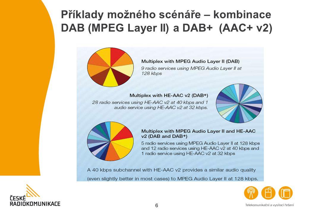 Příklady možného scénáře – kombinace DAB (MPEG Layer II) a DAB+ (AAC+ v2)