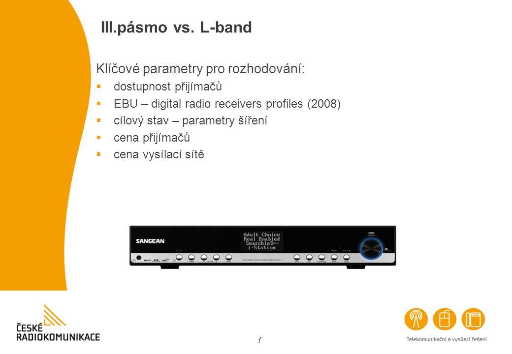III.pásmo vs. L-band Klíčové parametry pro rozhodování: