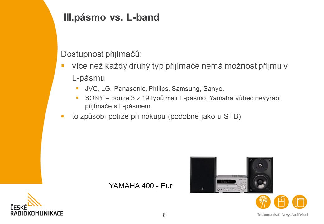 III.pásmo vs. L-band Dostupnost přijímačů: