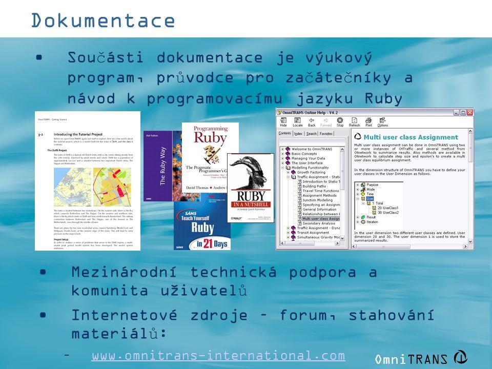 Dokumentace Součásti dokumentace je výukový program, průvodce pro začátečníky a návod k programovacímu jazyku Ruby.