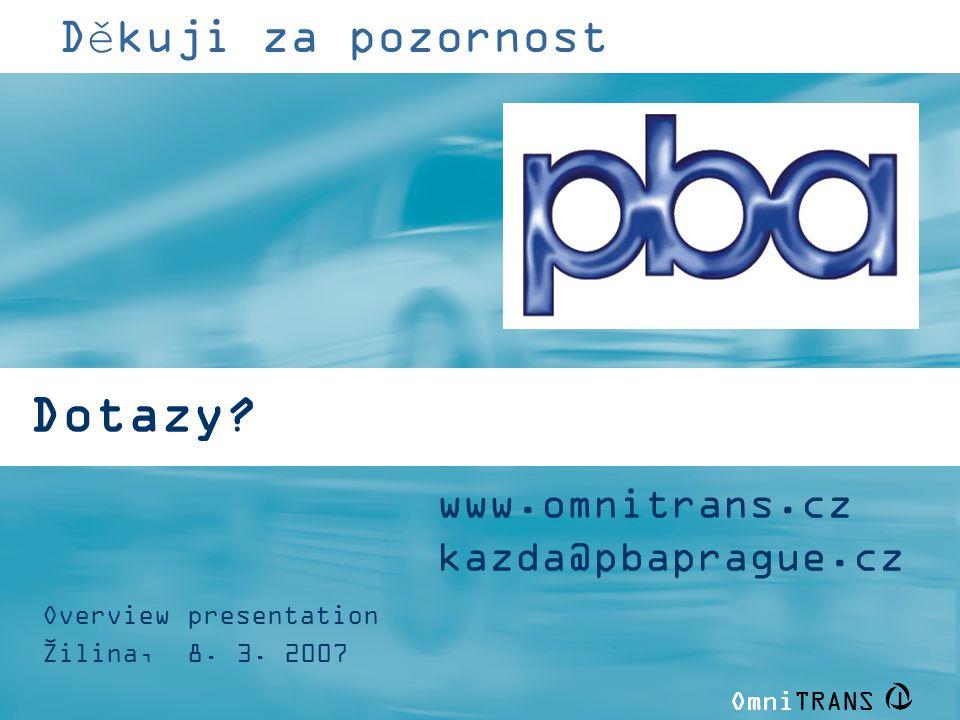 Dotazy Děkuji za pozornost www.omnitrans.cz kazda@pbaprague.cz
