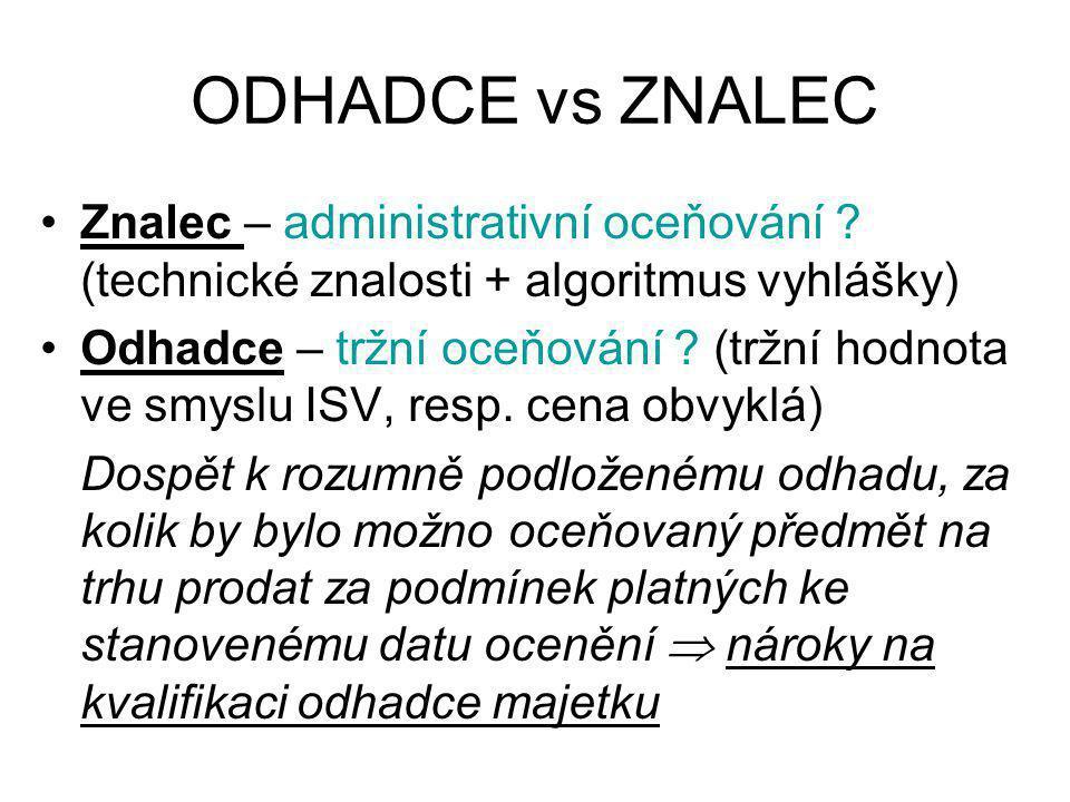 ODHADCE vs ZNALEC Znalec – administrativní oceňování (technické znalosti + algoritmus vyhlášky)