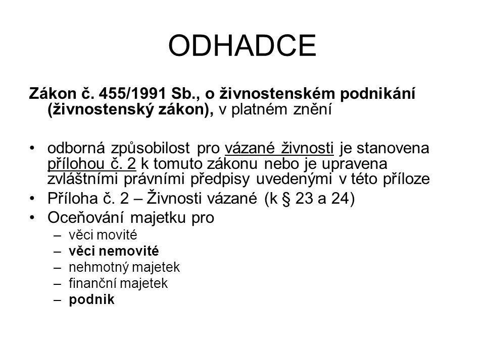 ODHADCE Zákon č. 455/1991 Sb., o živnostenském podnikání (živnostenský zákon), v platném znění.