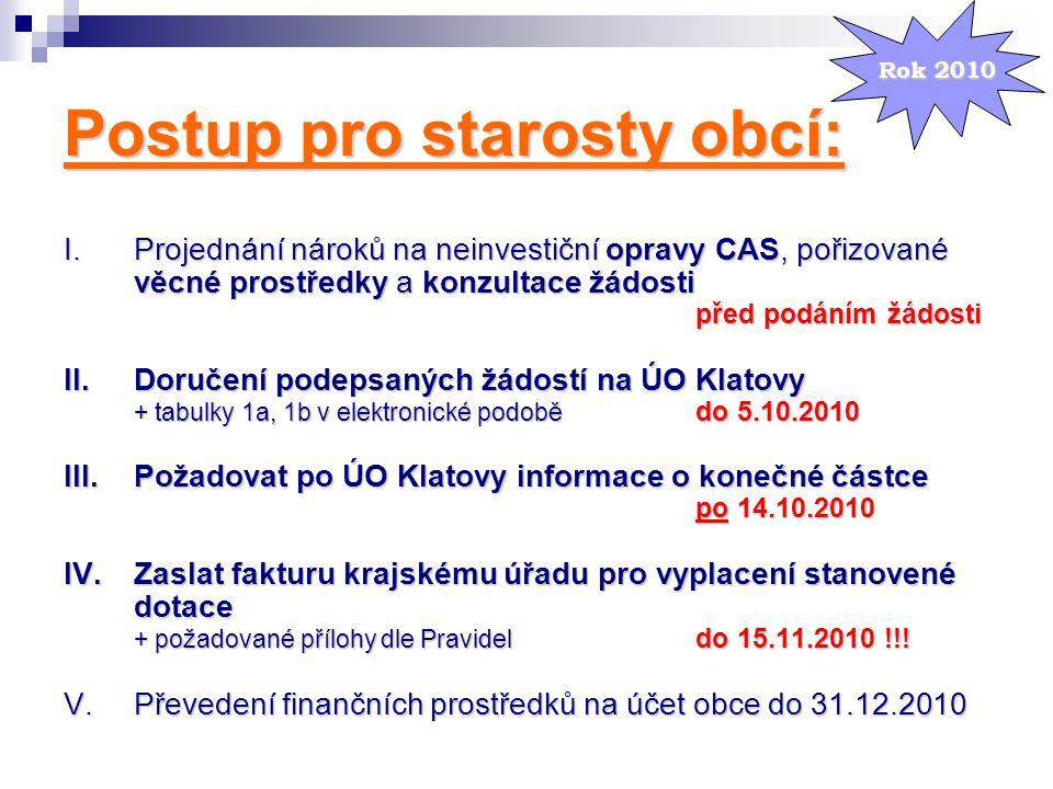Postup pro starosty obcí: