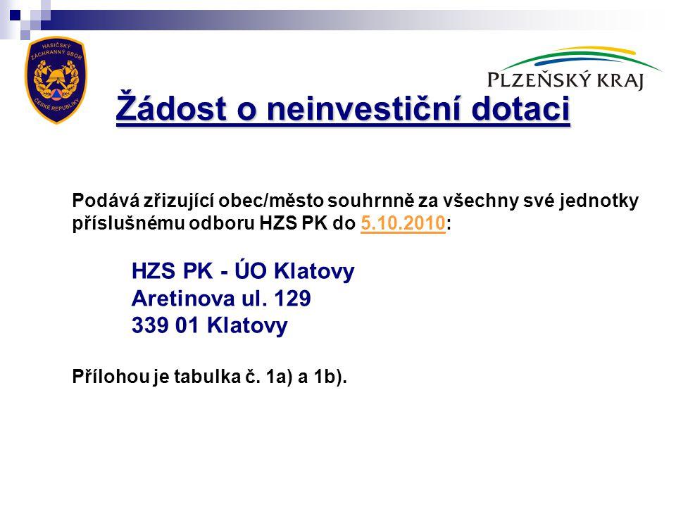 Žádost o neinvestiční dotaci
