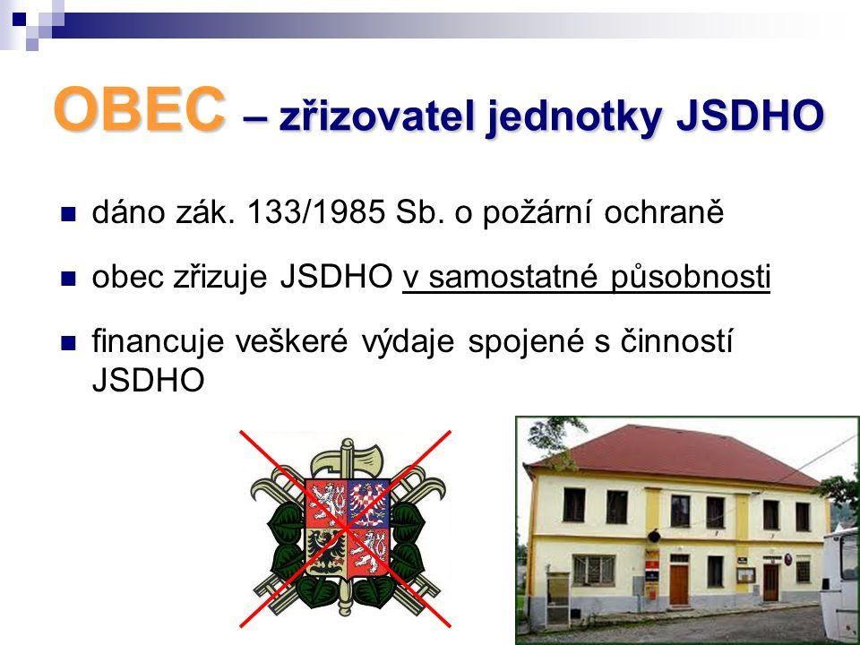 OBEC – zřizovatel jednotky JSDHO