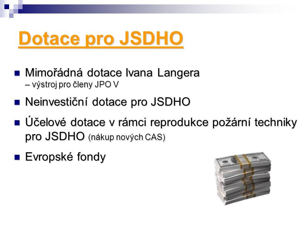 Dotace pro JSDHO Mimořádná dotace Ivana Langera – výstroj pro členy JPO V. Neinvestiční dotace pro JSDHO.