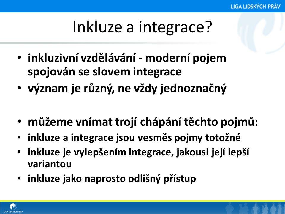 Inkluze a integrace inkluzivní vzdělávání - moderní pojem spojován se slovem integrace. význam je různý, ne vždy jednoznačný.