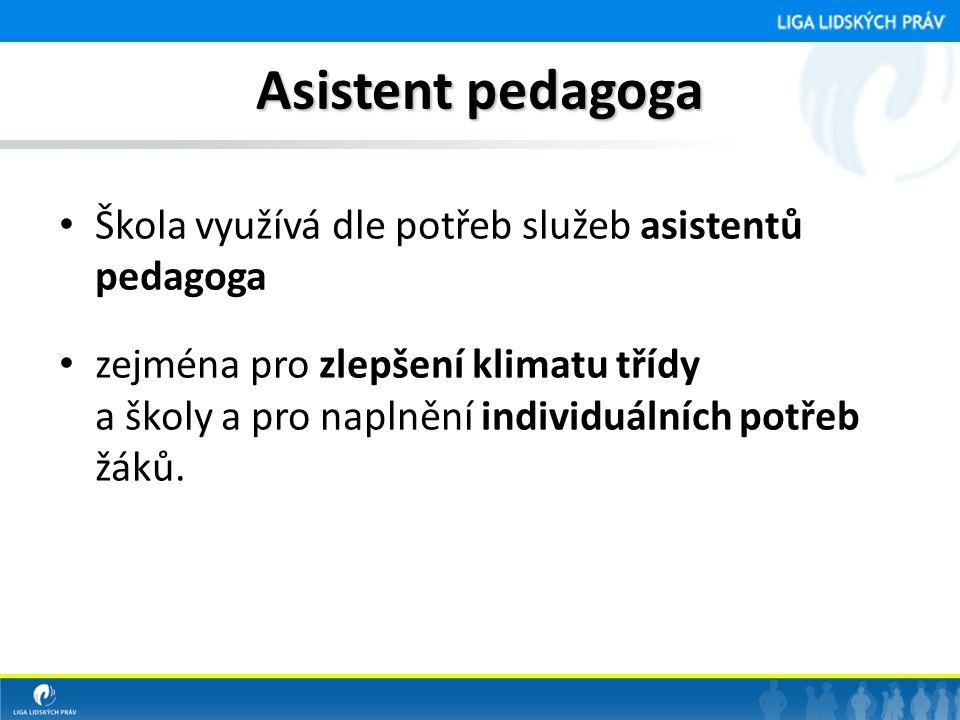 Asistent pedagoga Škola využívá dle potřeb služeb asistentů pedagoga
