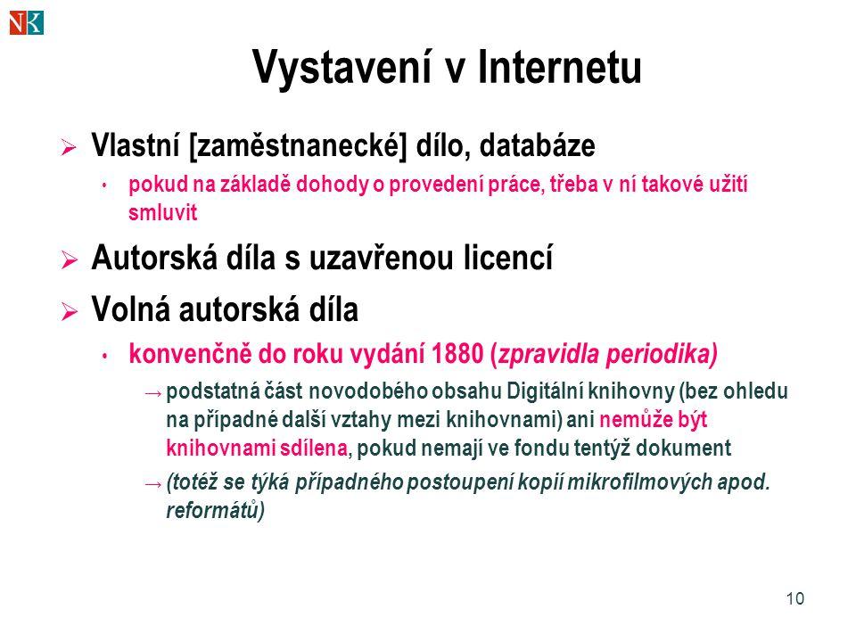 Vystavení v Internetu Autorská díla s uzavřenou licencí