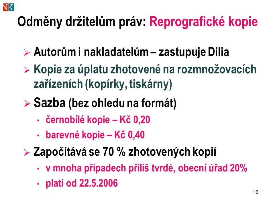 Odměny držitelům práv: Reprografické kopie