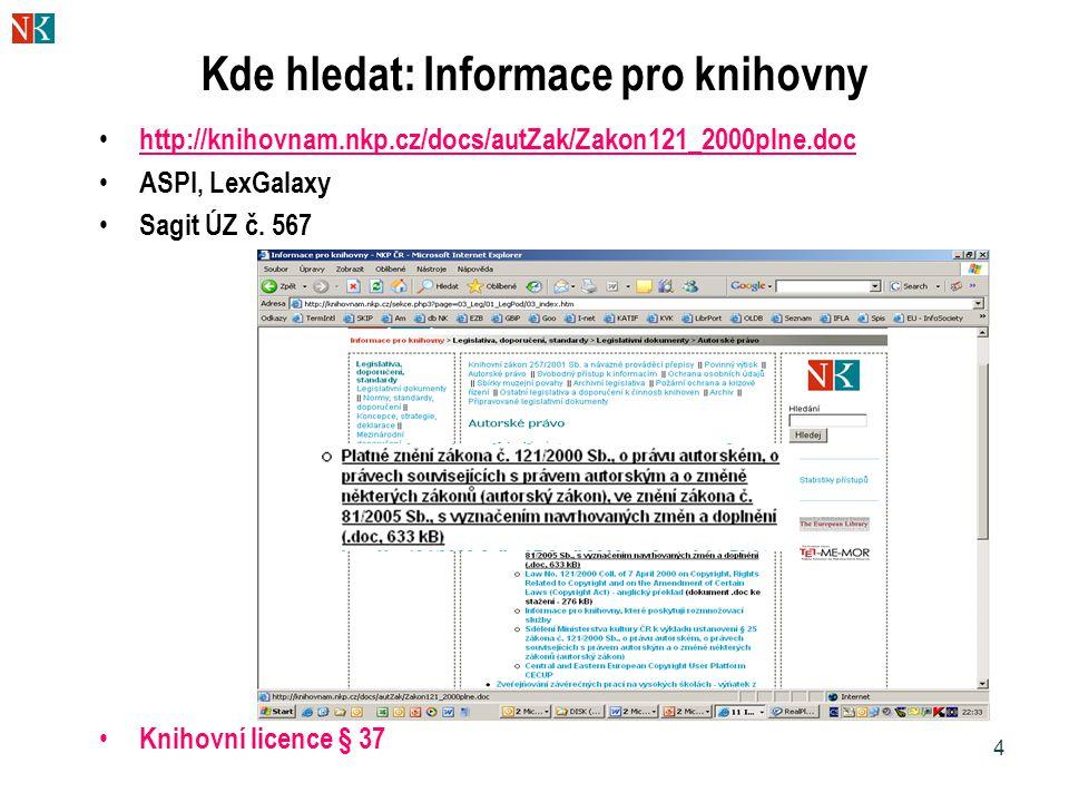 Kde hledat: Informace pro knihovny