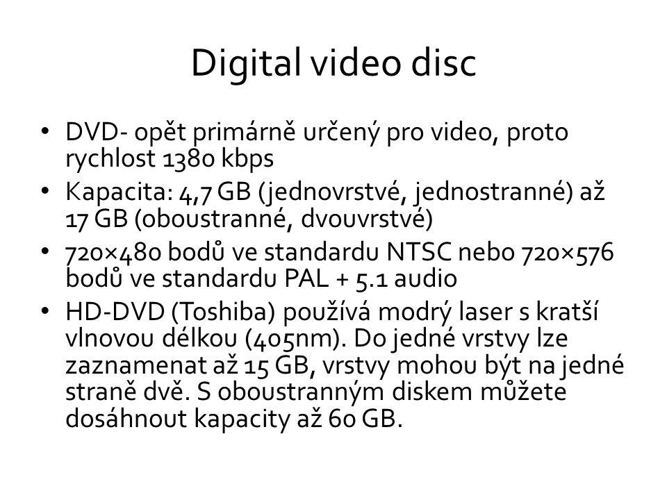 Digital video disc DVD- opět primárně určený pro video, proto rychlost 1380 kbps.