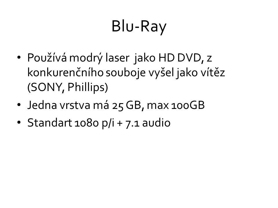 Blu-Ray Používá modrý laser jako HD DVD, z konkurenčního souboje vyšel jako vítěz (SONY, Phillips)