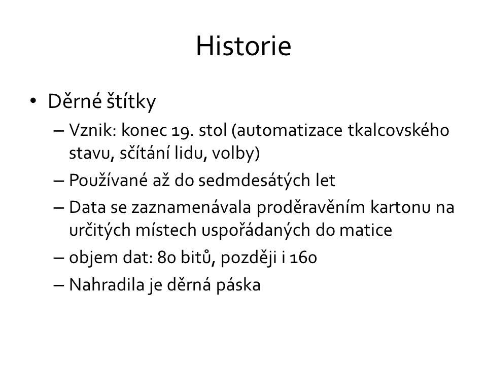 Historie Děrné štítky. Vznik: konec 19. stol (automatizace tkalcovského stavu, sčítání lidu, volby)