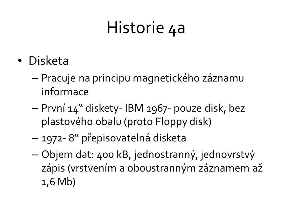 Historie 4a Disketa Pracuje na principu magnetického záznamu informace