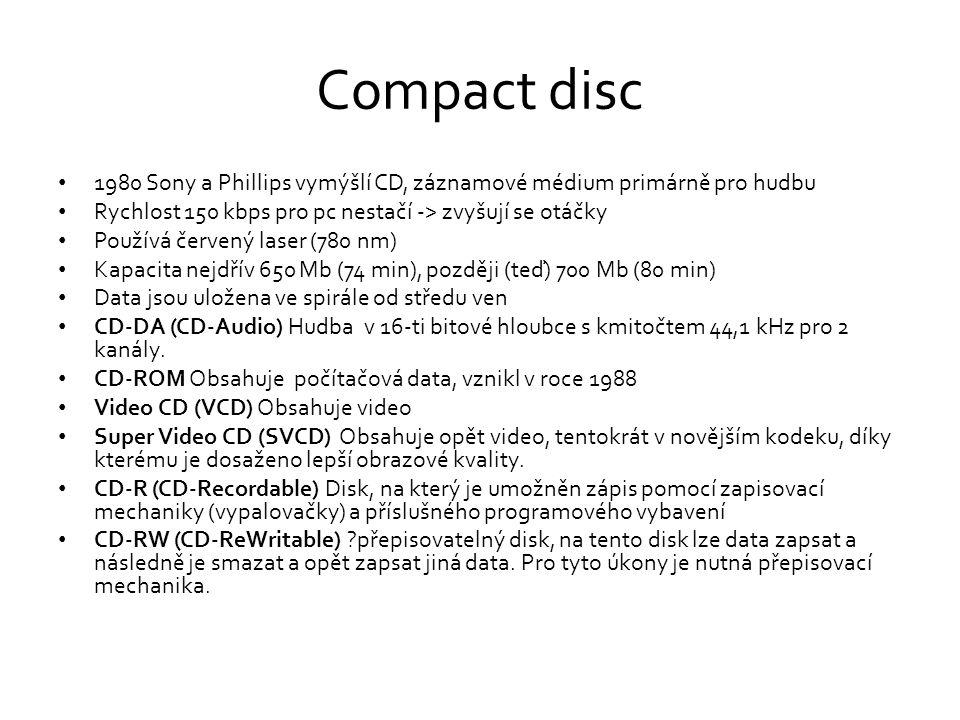 Compact disc 1980 Sony a Phillips vymýšlí CD, záznamové médium primárně pro hudbu. Rychlost 150 kbps pro pc nestačí -> zvyšují se otáčky.