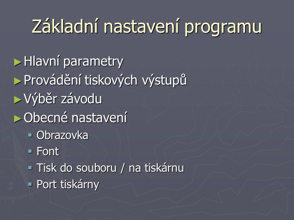 Základní nastavení programu