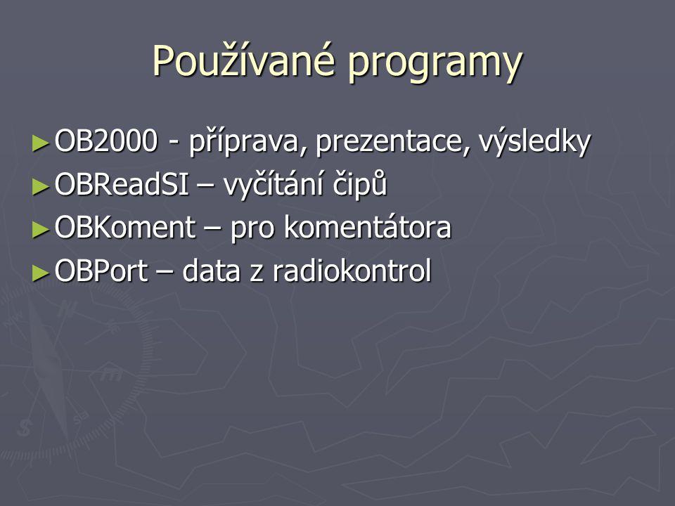 Používané programy OB2000 - příprava, prezentace, výsledky