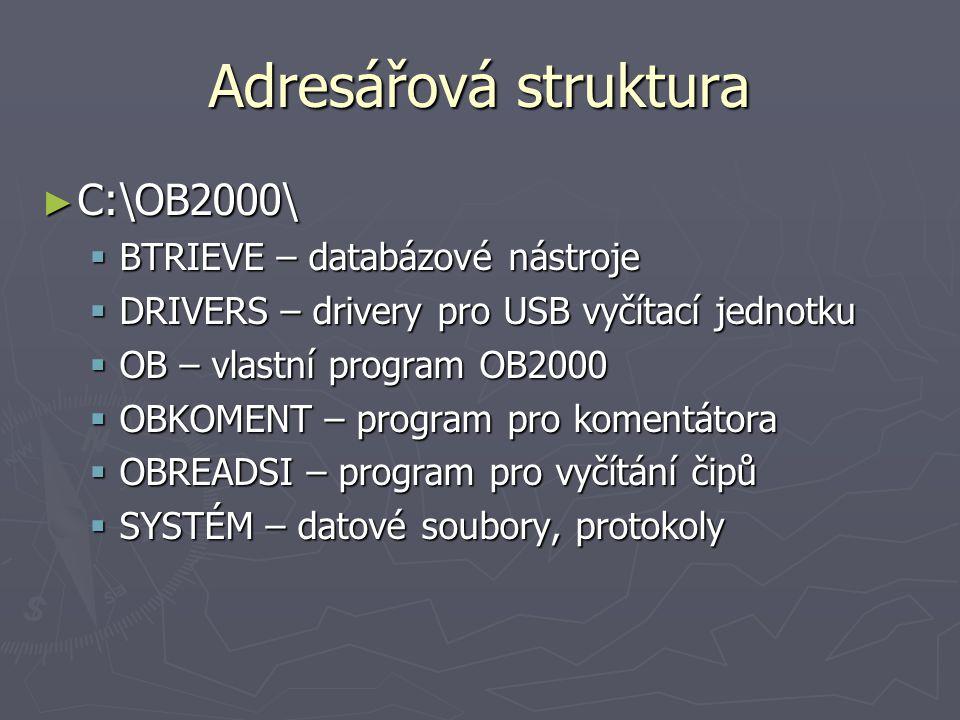 Adresářová struktura C:\OB2000\ BTRIEVE – databázové nástroje