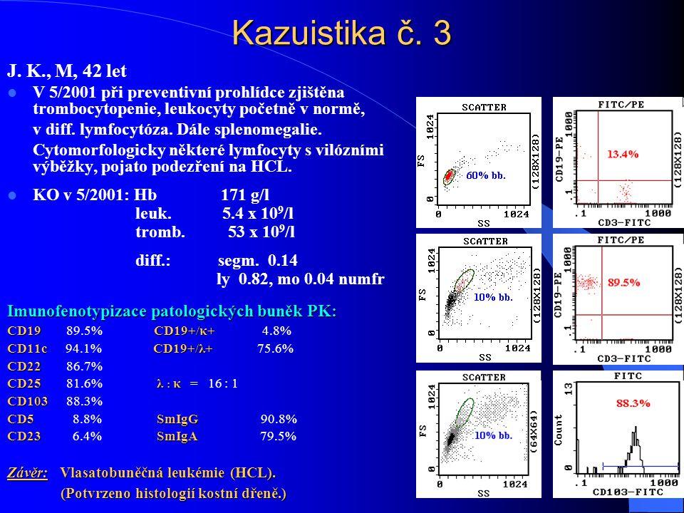 Kazuistika č. 3 J. K., M, 42 let. V 5/2001 při preventivní prohlídce zjištěna trombocytopenie, leukocyty početně v normě,