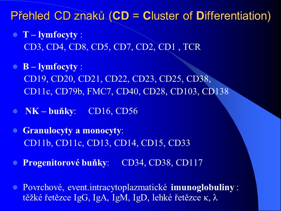 Přehled CD znaků (CD = Cluster of Differentiation)