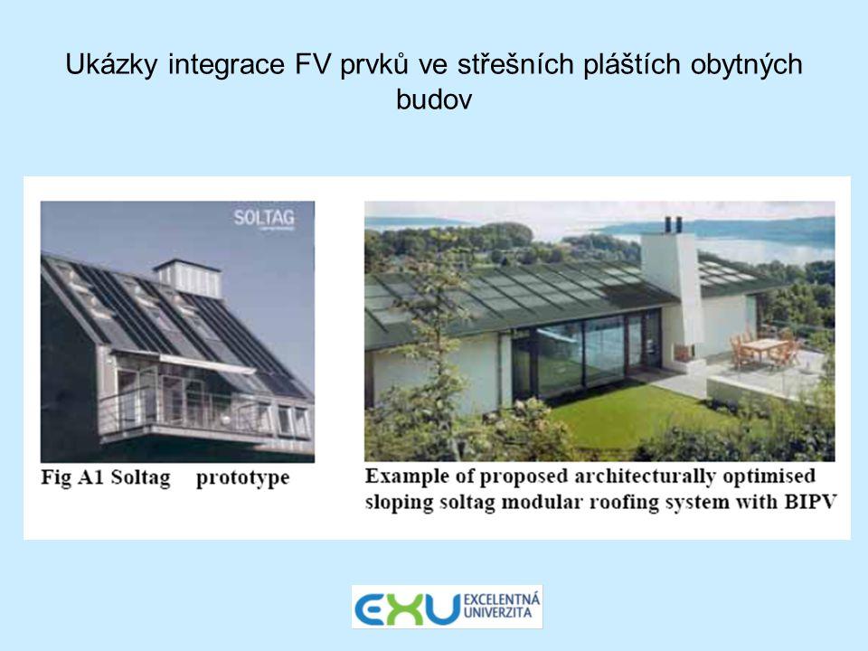 Ukázky integrace FV prvků ve střešních pláštích obytných budov